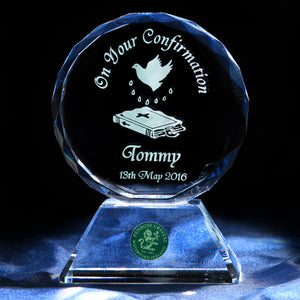 Confirmation Crystal Plaque on Plinth with Personalised Engraving - Penrose Crystal Waterford