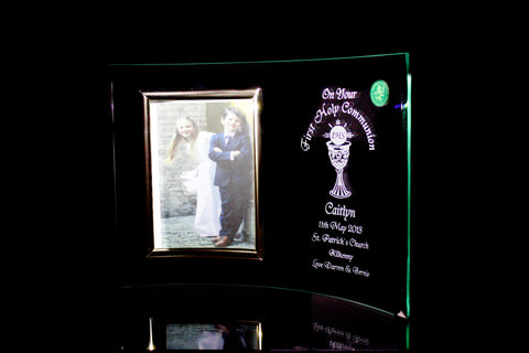 First Holy Communion Curved Photoframe - Penrose Crystal Waterford