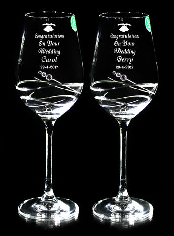 Pair of Wedding Diamante Wine Goblets - Penrose Crystal Waterford