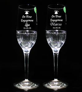 Crystal Engagement Champagne Flutes - Penrose Crystal Waterford
