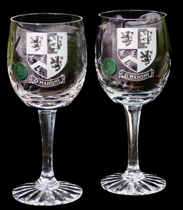 Pair of Crystal Wine Goblets with Family Crest
