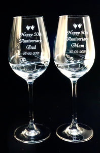 Pair of Diamante 50th Anniversary Wine Goblets