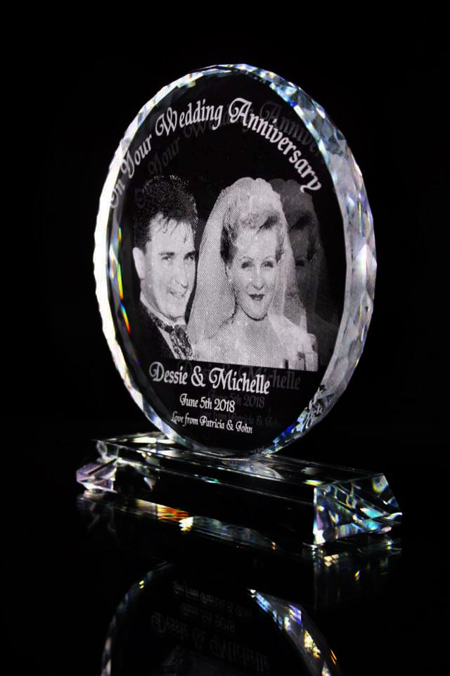 Wedding Anniversary Photo Engraved Optic Crystal Plaque - Penrose Crystal Waterford
