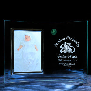 "Christening Photo Frame (5""x3.5"") - Penrose Crystal Waterford"