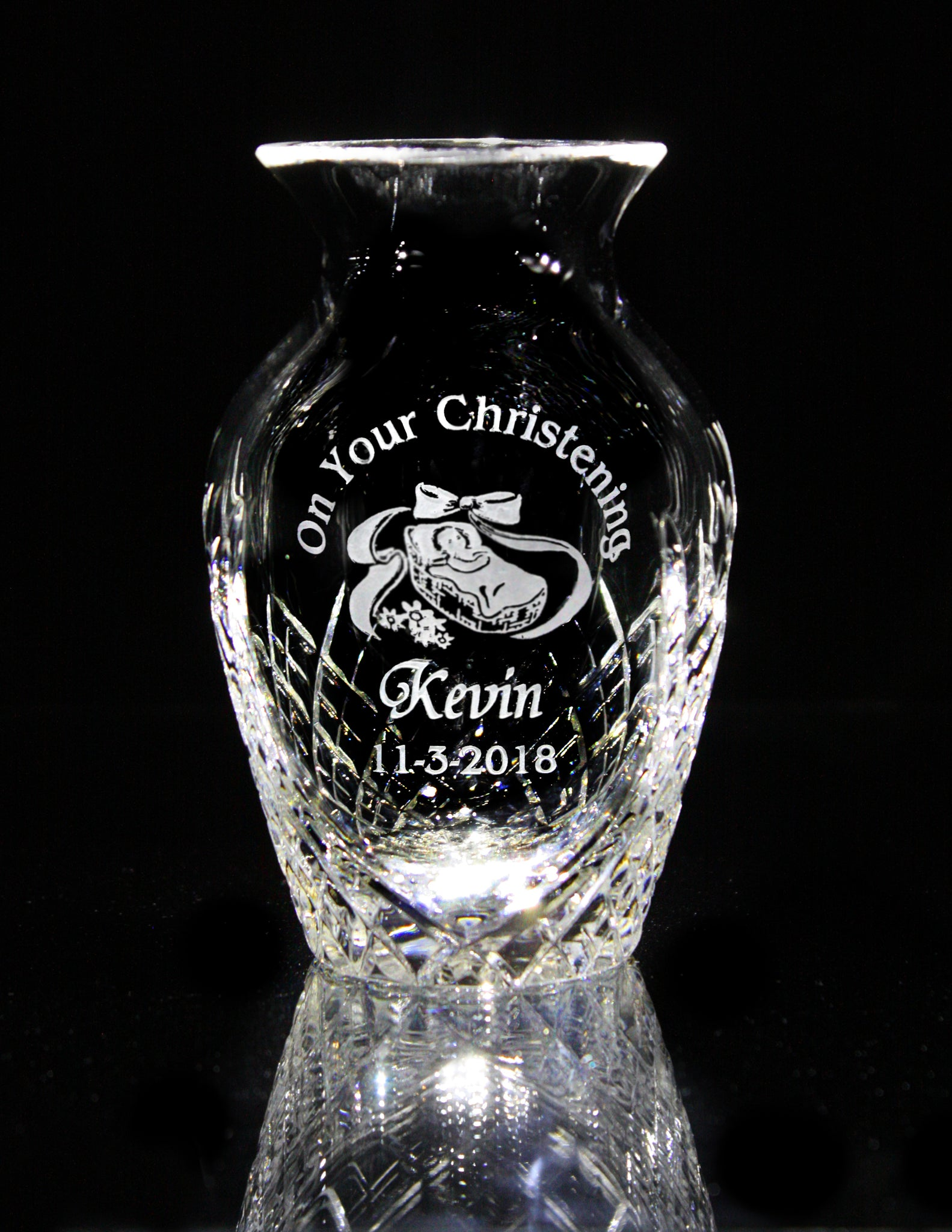 Baby's Christening Crystal Posy Vase - Penrose Crystal Waterford