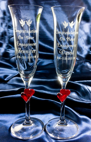 Pair Champagne Flutes with Hearts STL10 - Penrose Crystal Waterford
