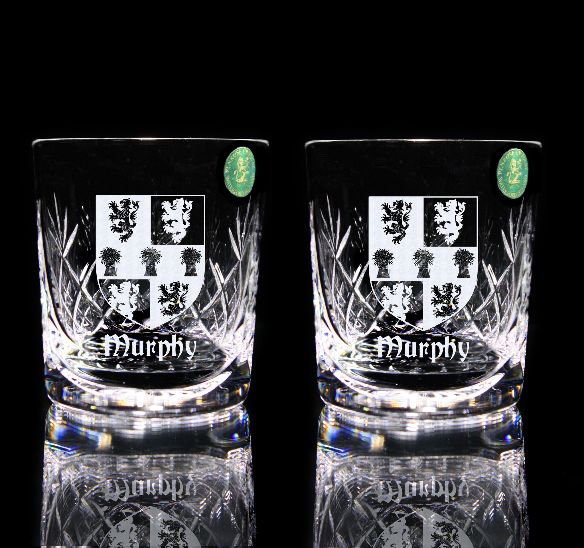 Pair of Crystal Whiskey Tumblers with Family Crest - Penrose Crystal Waterford
