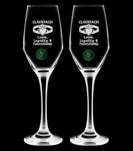Pair of Claddagh Champagne Flute - Penrose Crystal Waterford