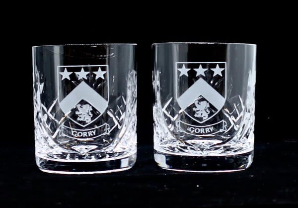Pair of Crystal Whiskey Tumblers with Family Crest