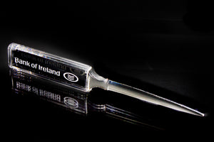 PC110 Optic Crystal Letter Opener with Company Branding - Penrose Crystal Waterford