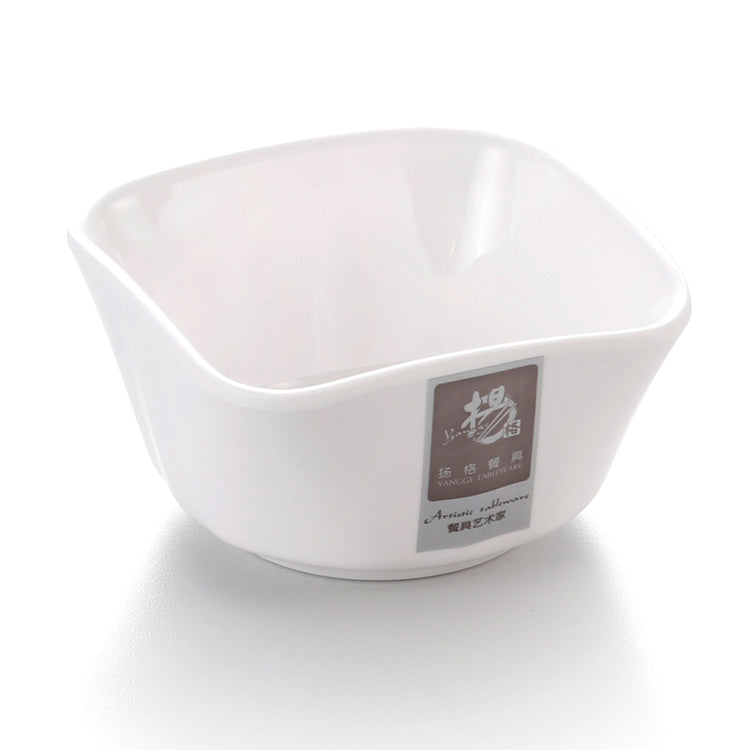 3.5 Inch White Restaurant Melamine Square Bowl 173GC