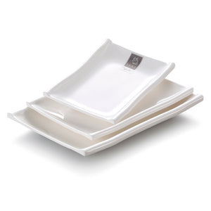 9 Inch White Rectangular Melamine Party Plate 2111GC