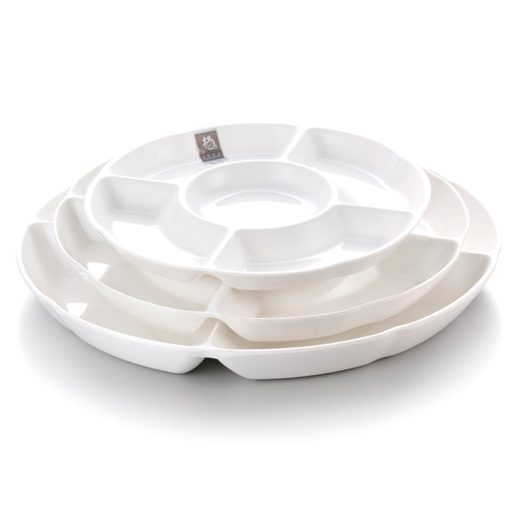 14 Inch White 5 Compartment Melamine Fruit Plates 31214GC