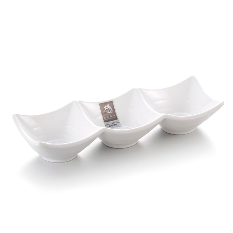 White Divided Melamine Dipping Sauce Dish 343GC