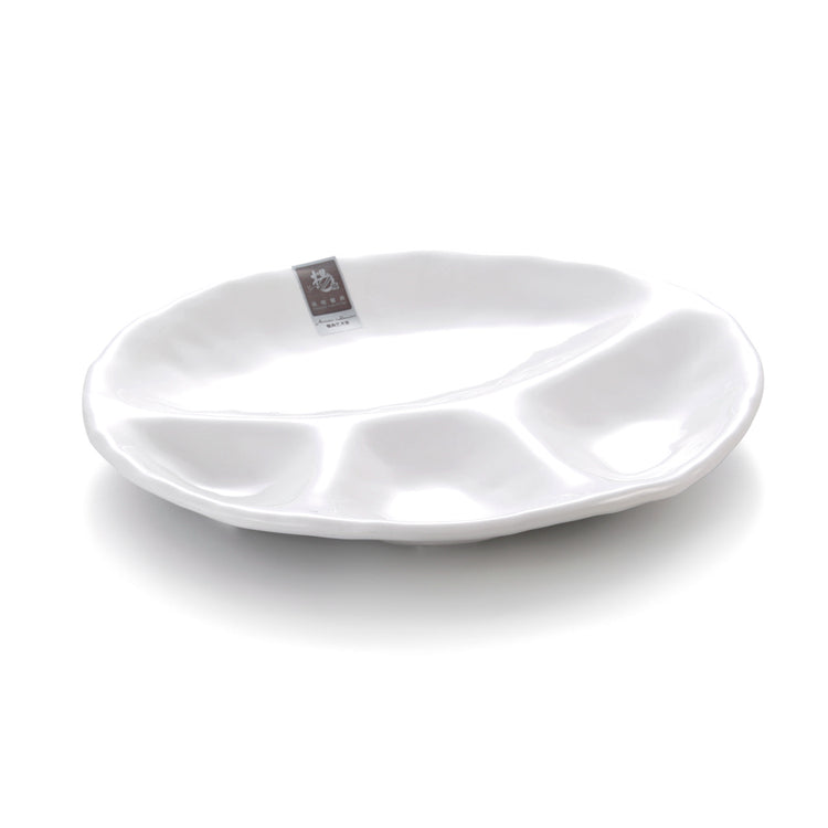 10.8 Inch White 4 Compartment Melamine Restaurant Plate 396GC