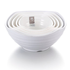 8.5 Inch White Irregular Big Melamine Serving Bowls 44010GC