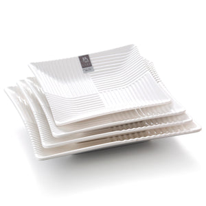 9 Inch White Square Melamine Striped Restaurant Plates 4959GC