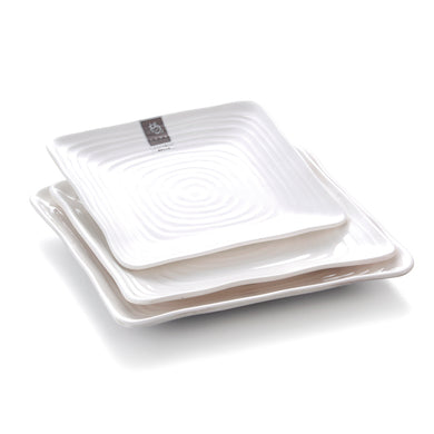 7.25 Inch White Square Melamine Inner Grain Dinner Plates 6475GC
