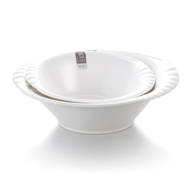 9 Inch Wide Rim Irregular White Melamine Soup Bowl 6749GC