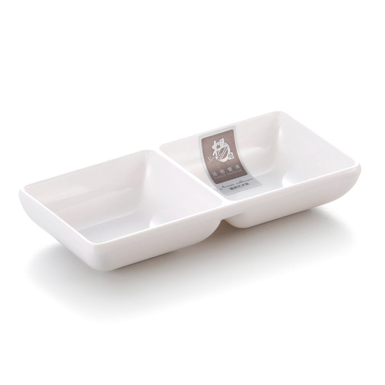 6 Inch Divided White Restaurant Melamine Sauce Dish 7530GC
