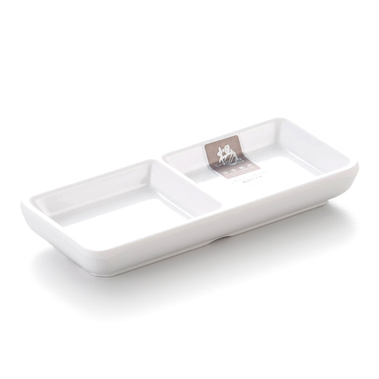 Korean White Divided Melamine Dipping Sauce Dish 7533GC