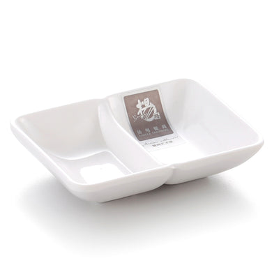 4 Inch White Rectangular Melamine Divided Sauce Dish 754GC