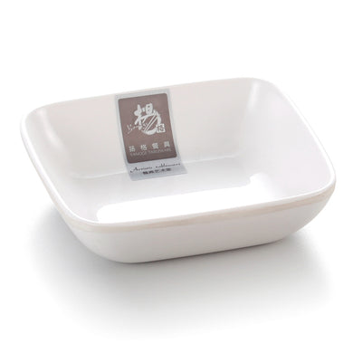 4 Inch White Melamine Square Soy Dish 7817GC