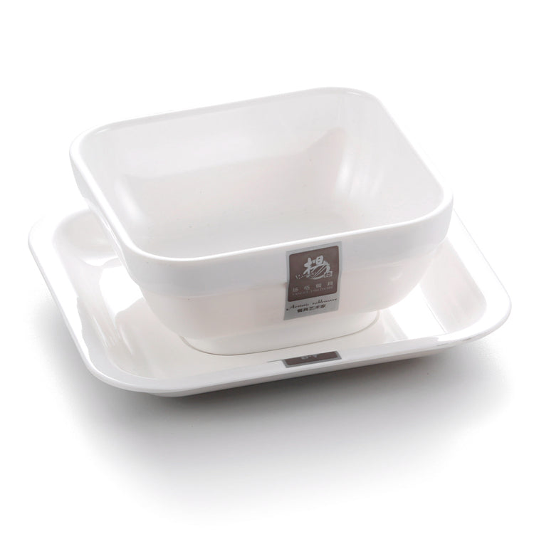 4.8 Inch White Square Melamine Desert Bowl With Plate 8937GC