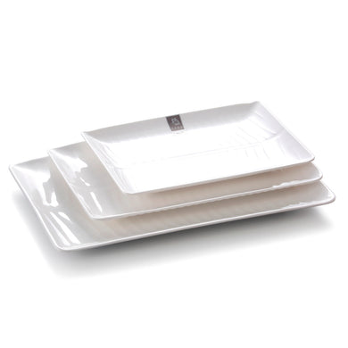 6.5 Inch White Rectangular Melamine Banana Leaf Dinner Plates A3042GC
