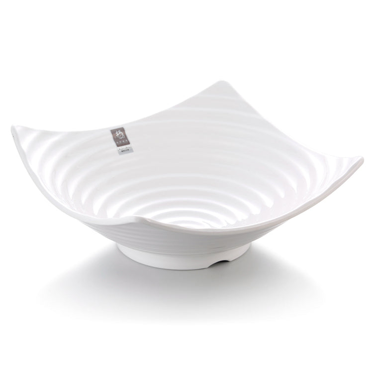 13 Inch Striped Large White Melamine Salad Bowl B21313GC