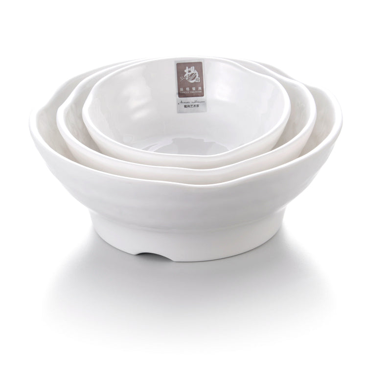 7 Inch White Irregular Melamine Food Serving Bowl B4707GC