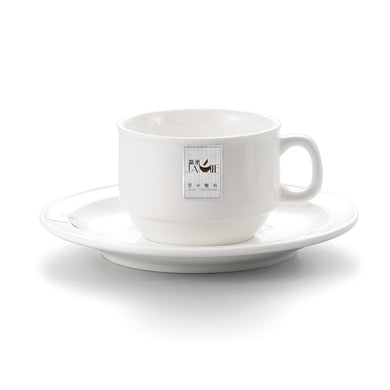 4.3 Inch White Hotel Melamine Coffee Cup With Plate J177070GC
