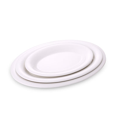 9.6 Inch White Oval Melamine Dinner Plates J219445GC