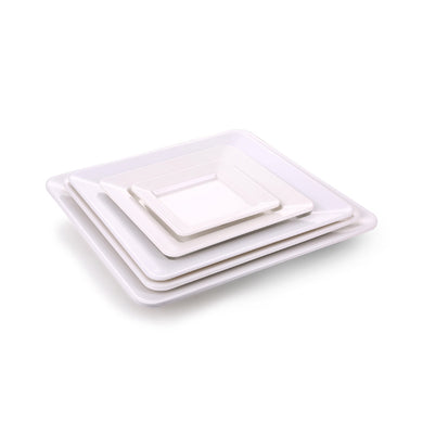 15.7 Inch White Restaurant Melamine Square Plates Set J418063GC