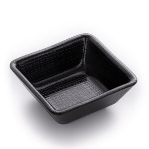 2.8 Inch Matte Black Mini Sauce Dish With Chequer Pattern