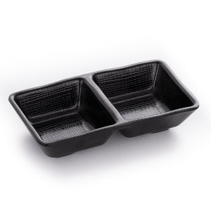 Matte Black Divided Sauce Dish With Chequer Pattern