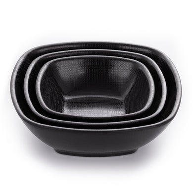 Matte Black Square Melamine Snack Bowls With Chequer Pattern