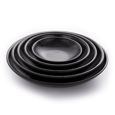 Matte Black Small Melamine Round Plates With Chequer Pattern