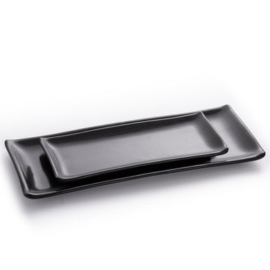 Matte Black Rectangular Melamine Sushi Plates With Chequer Pattern