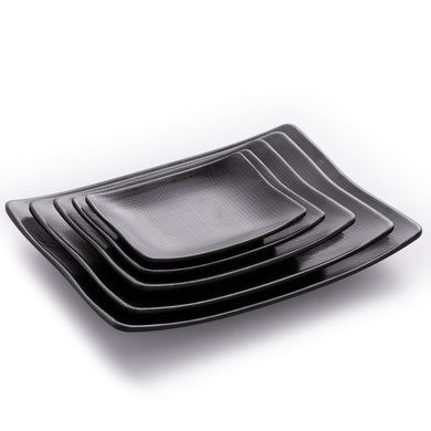 Matte Black Rectangular Melamine Restaurant Plate With Chequer Pattern