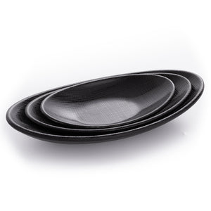 Matte Black Melamine Restaurant Fish Plates With Chequer Pattern