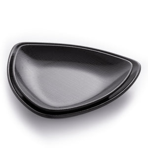 Matte Black Triangle Melamine Restaurant Plates With Chequer Pattern
