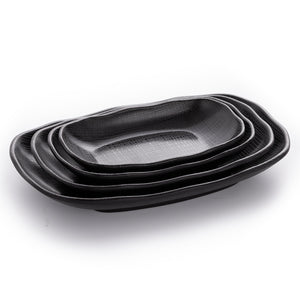 New Matte Black Melamine Restaurant Service Plates With Pattern