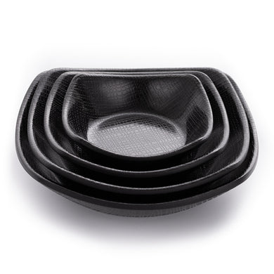 New Matte Black Melamine Dessert Plates With Pattern