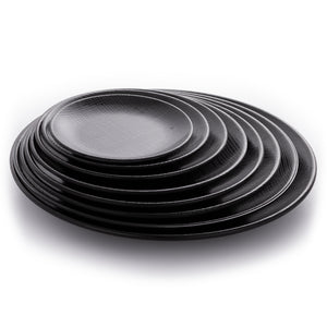 Matte Black Round Melamine Restaurant Plates With Pattern