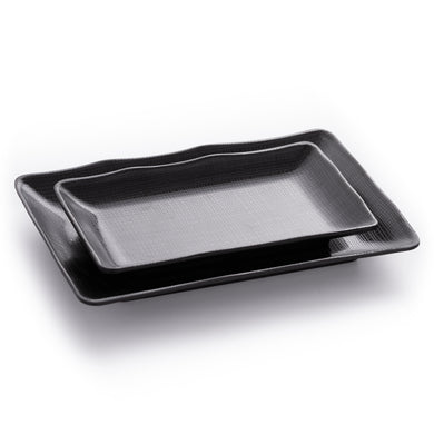 Matte Black Melamine Sushi Restaurant Plates With Pattern