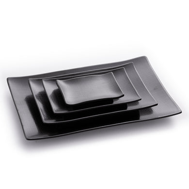 Matte Black Rectangular Melamine Dinner Plates With Pattern