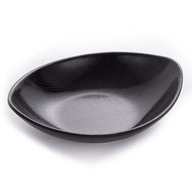 Boat Shaped Matte Black Melamine Plates With Pattern
