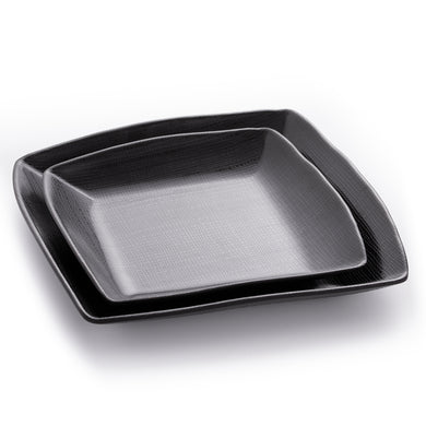 7.3 Inch Matte Black Melamine Square Plates With Pattern