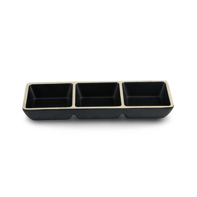 8.5 Inch Korean Style Black Melamine Divided Sauce Dish DAA700085MS